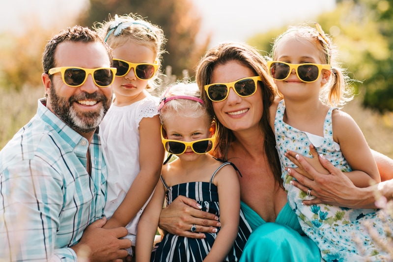 Family Photographer, family of 5 all wearing yellow sunglasses