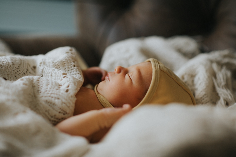 Family Photography, sleeping baby wrapped up in blankets